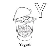 vector alphabet letter y coloring page yogurt