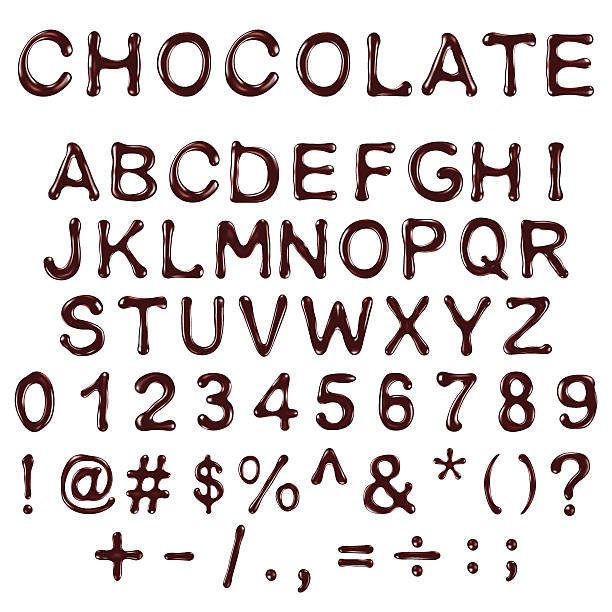 stockillustraties, clipart, cartoons en iconen met vector alphabet letters, numbers and symbols made of chocolate syrup - siroop