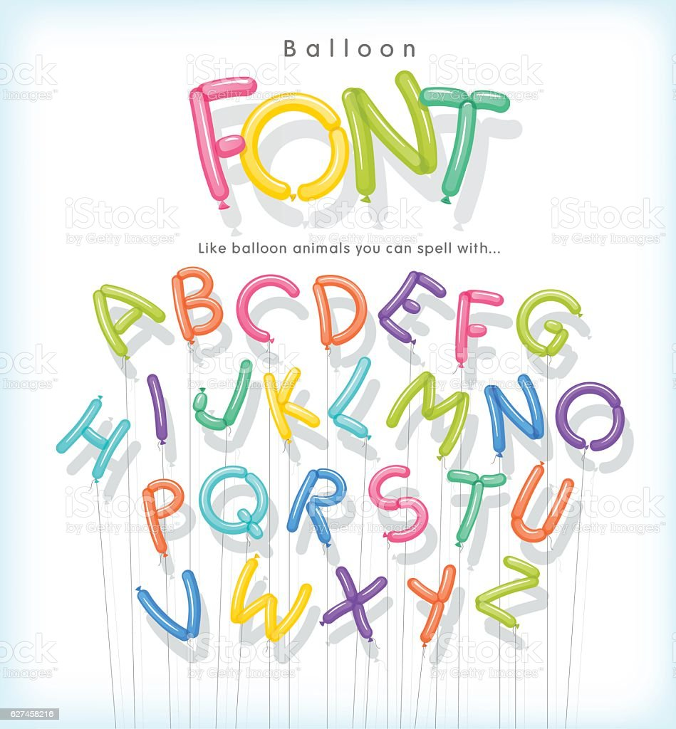 vector alphabet letters shaped from skinny balloons like balloon animals. vector art illustration