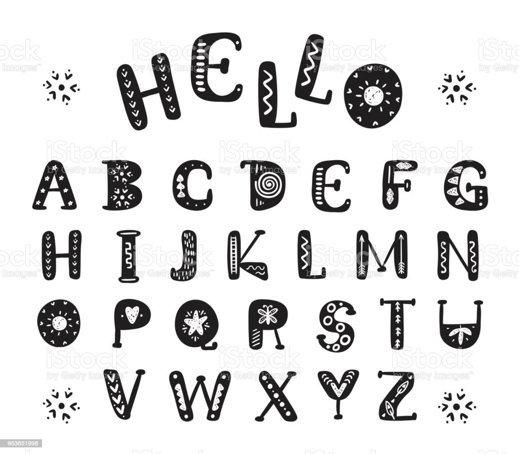 vector alphabet scandinavian style hand drawn doodle letters for