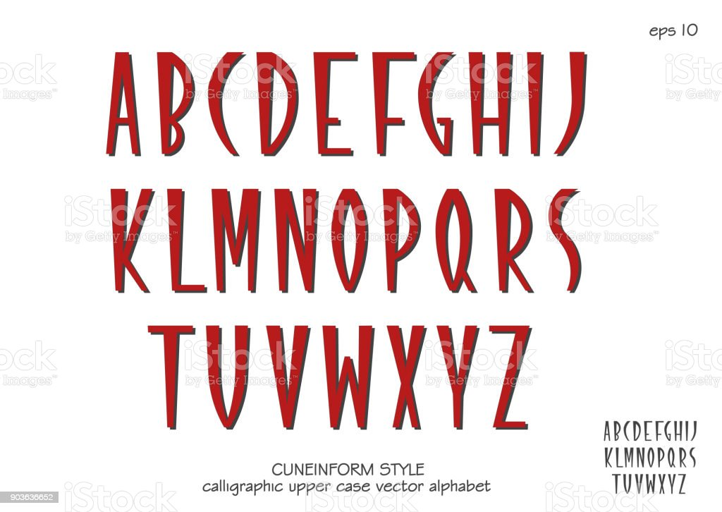Vector alphabet set. Capital letters in cuneiform style. Red letters on white background. vector art illustration