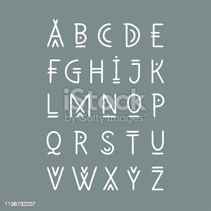 Vector alphabet set. Capital letters in geometric line art style. For hipster theme, trendy posters.
