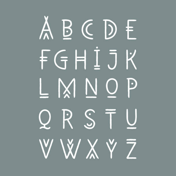 Vector alphabet set. Capital letters in geometric line art style. For hipster theme, trendy posters. Vector alphabet set. Capital letters in geometric line art style. For hipster theme, trendy posters. teepee stock illustrations
