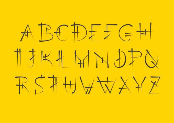 ilustrações de stock, clip art, desenhos animados e ícones de vector alphabet set. capital serif letters in cuneiform style. black letters on yellow background. - japanese font