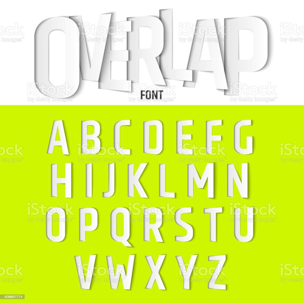 Vektor-Alphabet mit Buchstaben Ovelapping, moderne Papier-Schriftart Stil – Vektorgrafik