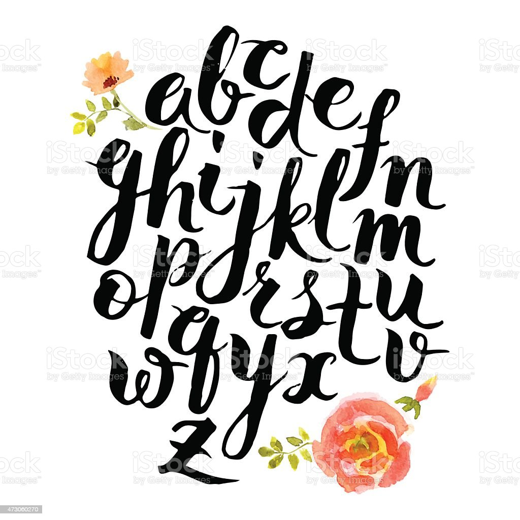 Vector alphabet written with brush pen and pink flowers vector art illustration