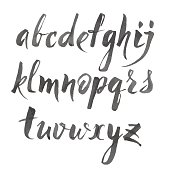 Vector alphabet written with brush pen
