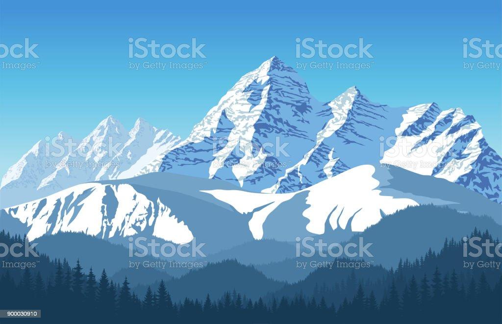 vetor de paisagem alpina com picos cobertos de neve - Vetor de Acampar royalty-free