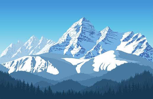 Vetores de Vetor De Paisagem Alpina Com Picos Cobertos De Neve e mais imagens de Acampar