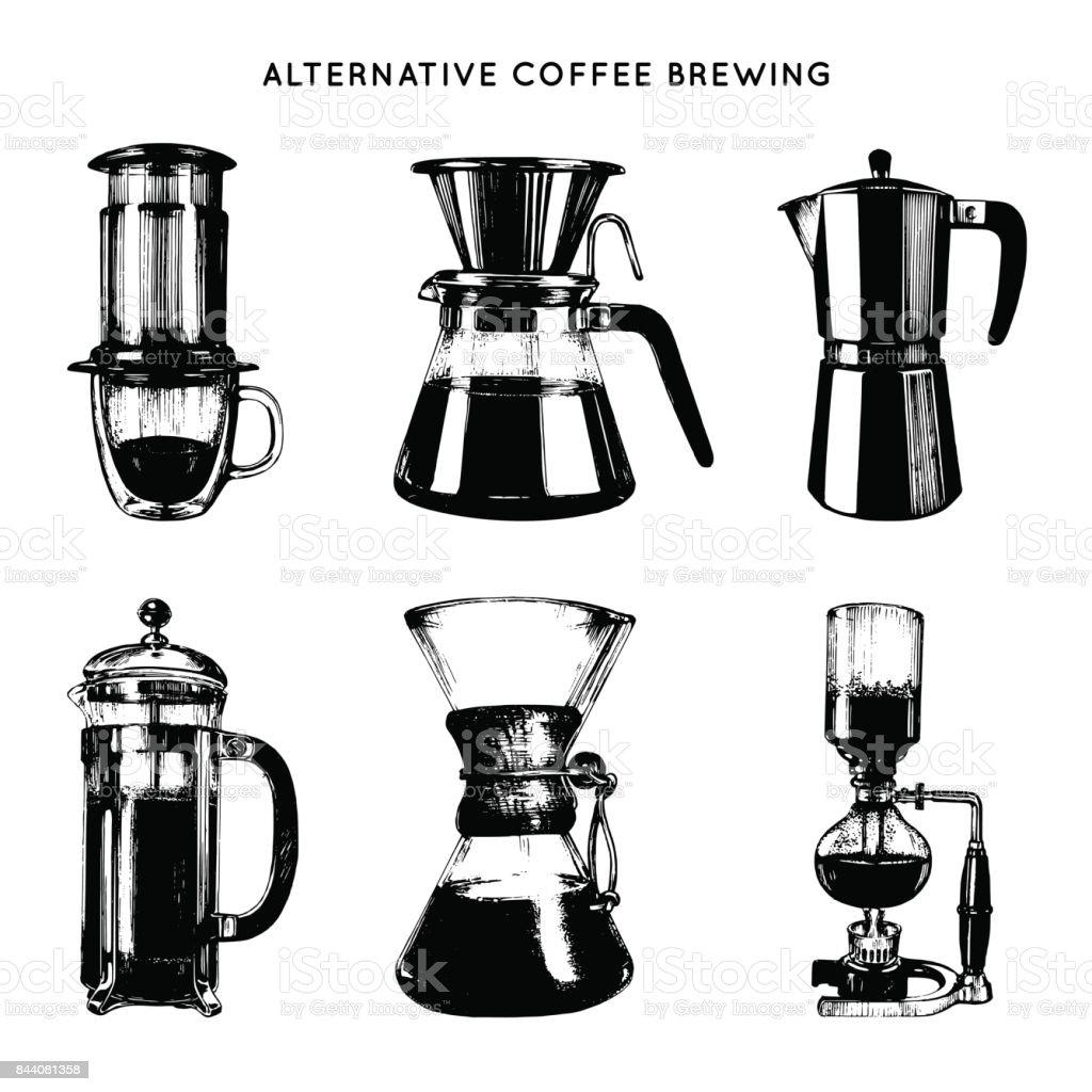 Ilustraciones de erogación alternativa vector set. Mano bosquejó diferentes cafeteras. Café, diseño de menú de restaurante. - ilustración de arte vectorial
