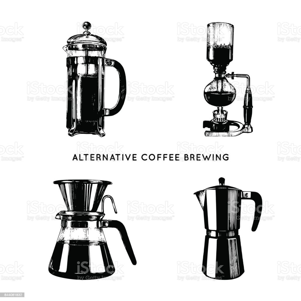 vector alternative coffee brewing illustrations set hand sketched