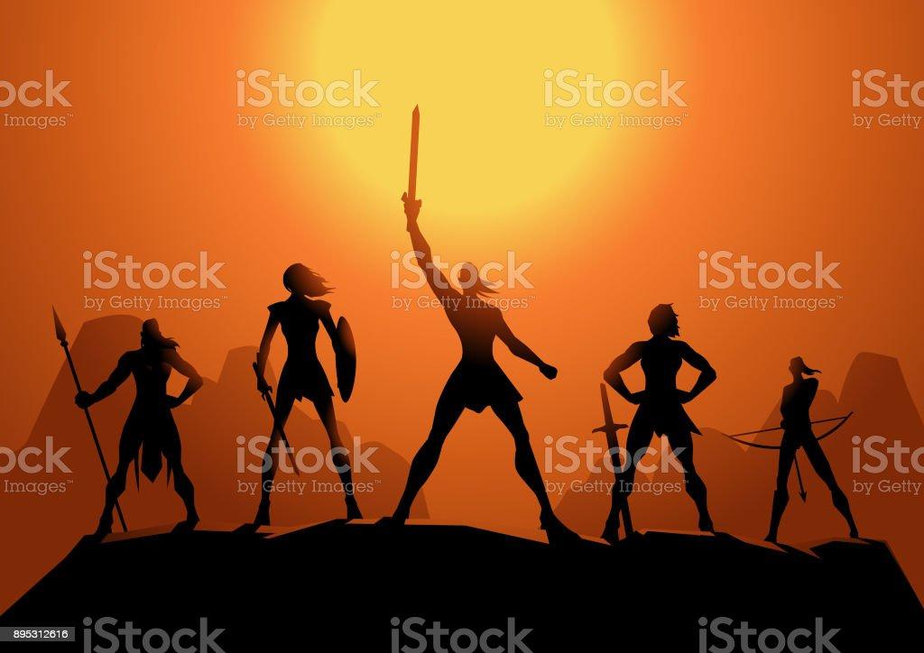 Vector Amazonian Women Warriors Silhouette vector art illustration