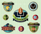 Vector American Fantasy Football Emblems Set