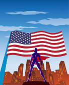 A retro style illustration of a female superhero in silhouette with waving American flag and art deco skyline in the background