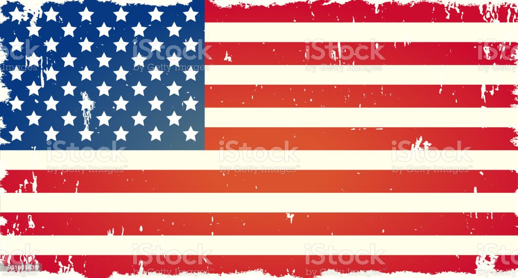 Vector American Flag With Grunge Texture Symbol Of Freedom Background For National