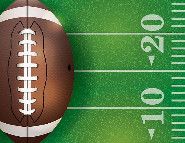 ilustrações de stock, clip art, desenhos animados e ícones de vetor de bola de futebol americano com bola e campo ilustrações - primeiro down futebol americano