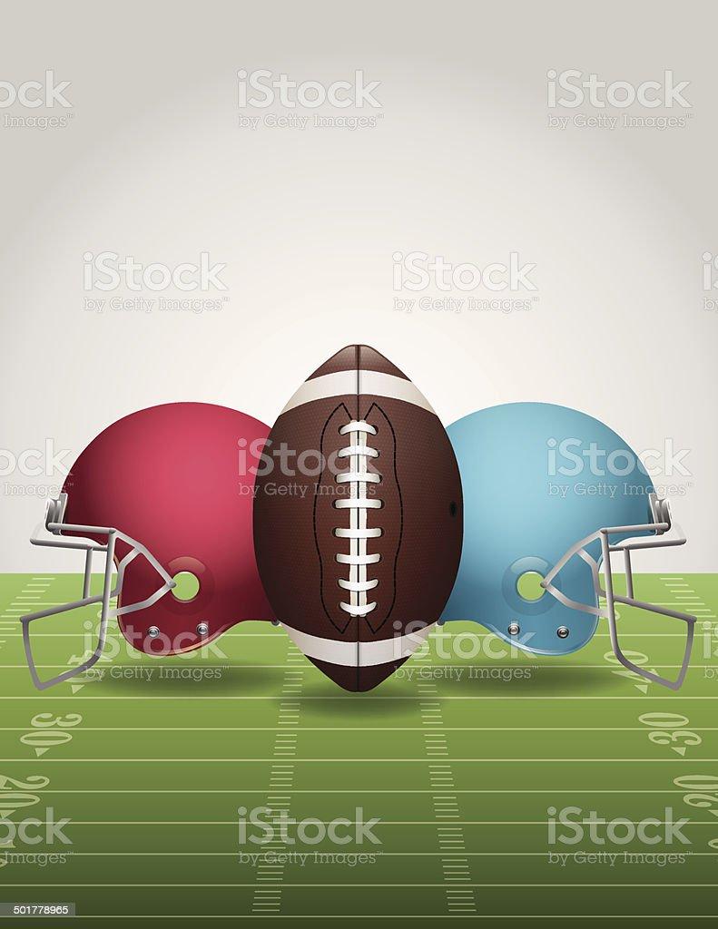 Vector American Football Field, Ball, and Helmets royalty-free stock vector art