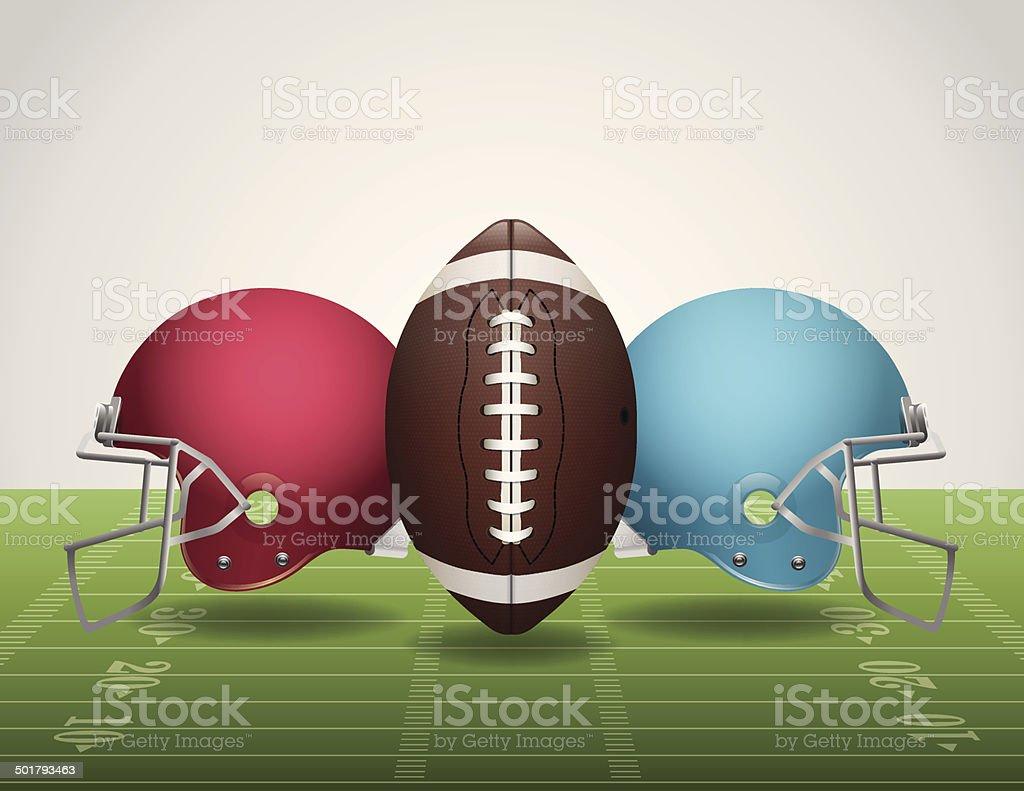 Vector American Football Field, Ball, and Helmets vector art illustration