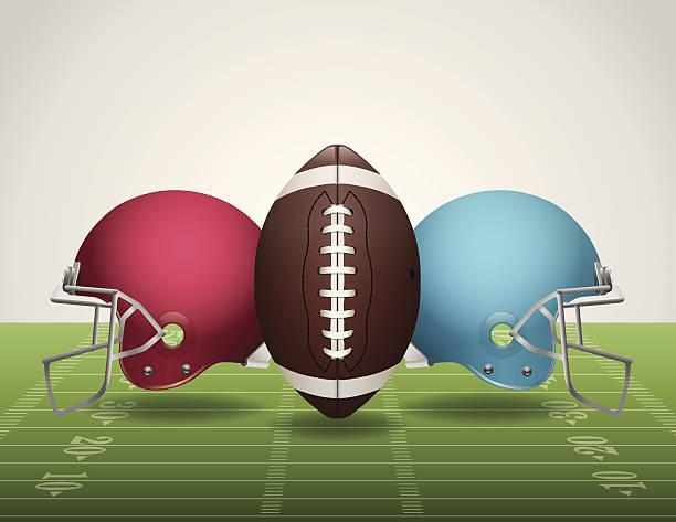 ilustrações de stock, clip art, desenhos animados e ícones de vector-campo de futebol, bola e capacetes - primeiro down futebol americano