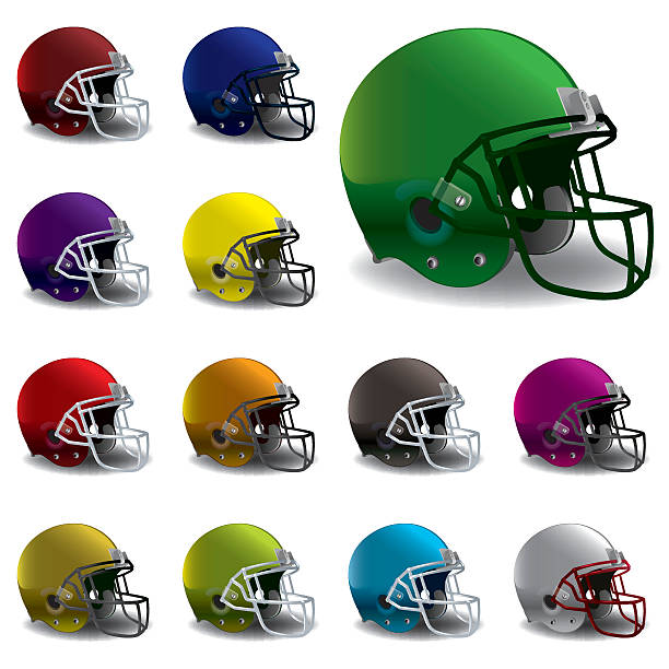 Vector American Football Helmets Illustration An illustration of American football helmets in various colors. EPS 10. EPS contains gradient mesh. football helmet stock illustrations