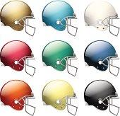 Vector American Football Helmets