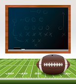 Vector American Football on Field with Chalkboard