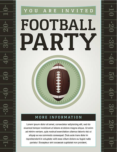 ilustrações de stock, clip art, desenhos animados e ícones de vetor de futebol americano festa flyer - primeiro down futebol americano