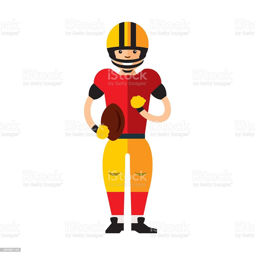 Vector american football player. Flat style colorful Cartoon illustration. vector art illustration