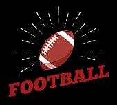 Vector american football sport ball symbol icon sun burtst print hand drawn vintage line art design