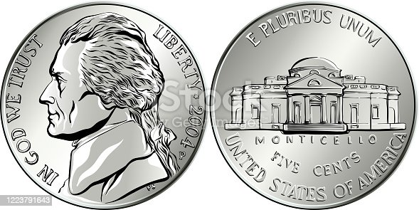 Jefferson nickel, American money, USA five-cent coin with US third President Thomas Jefferson on obverse and his house Monticello on reverse