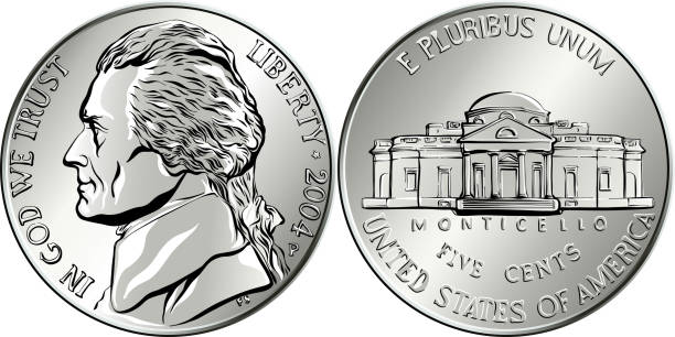 Vector American money coin five cents Jefferson nickel, American money, USA five-cent coin with US third President Thomas Jefferson on obverse and his house Monticello on reverse nickel stock illustrations