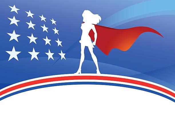 vektor-amerikanische super frau silhouette - superwoman stock-grafiken, -clipart, -cartoons und -symbole