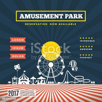 Vector amusement park theme background. Banner with carnival attraction, festival amusement park illustration
