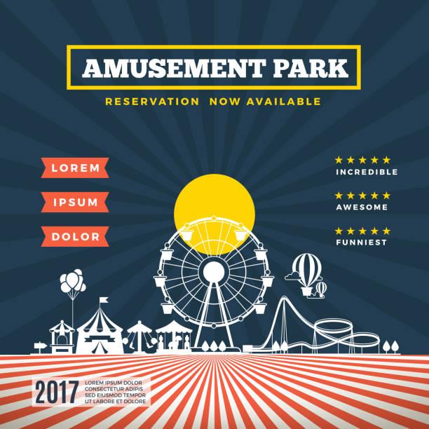 Vector amusement park theme background vector art illustration
