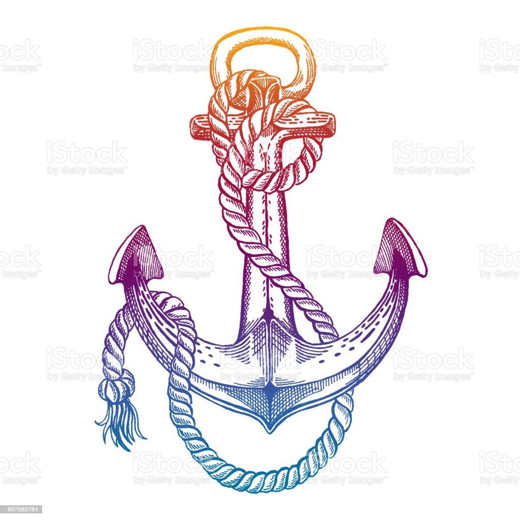 Vektor-Anker. Meer, Ozean, Seemann Zeichen. Handgezeichnete Vintage Illustration für T-shirt, Emblem, Abzeichen, Symbol. – Vektorgrafik