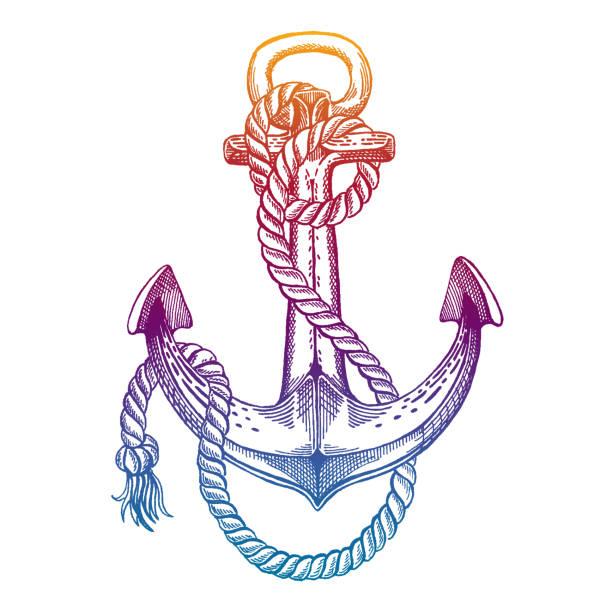 ilustraciones, imágenes clip art, dibujos animados e iconos de stock de anclaje de vector. mar, océano, signo de marinero. mano dibujada vintage ilustración para camiseta, símbolo, insignia, emblema. - tatuajes náuticos