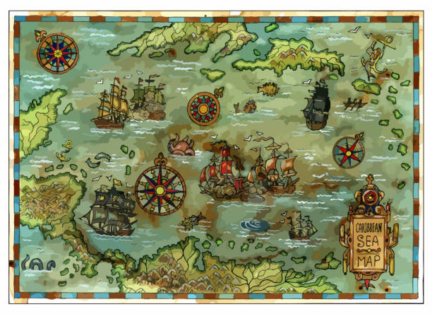 Vector ancient Caribbean Sea map with pirate ships and islands Pirate adventures, treasure hunt and old transportation concept. Vector illustration, vintage background adventure borders stock illustrations
