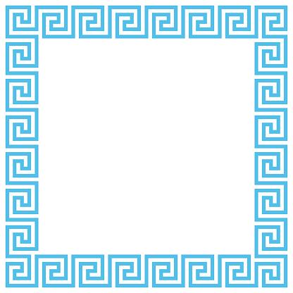 Vector Ancient Greek meander pattern frame. Editable stroke.