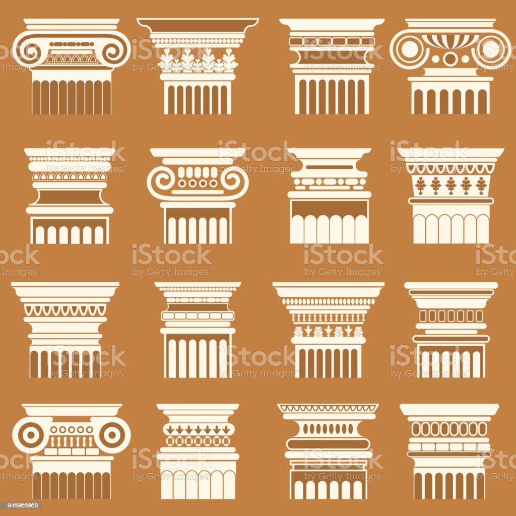 Vector ancient greek roma column capitals silhouette set. vector art illustration