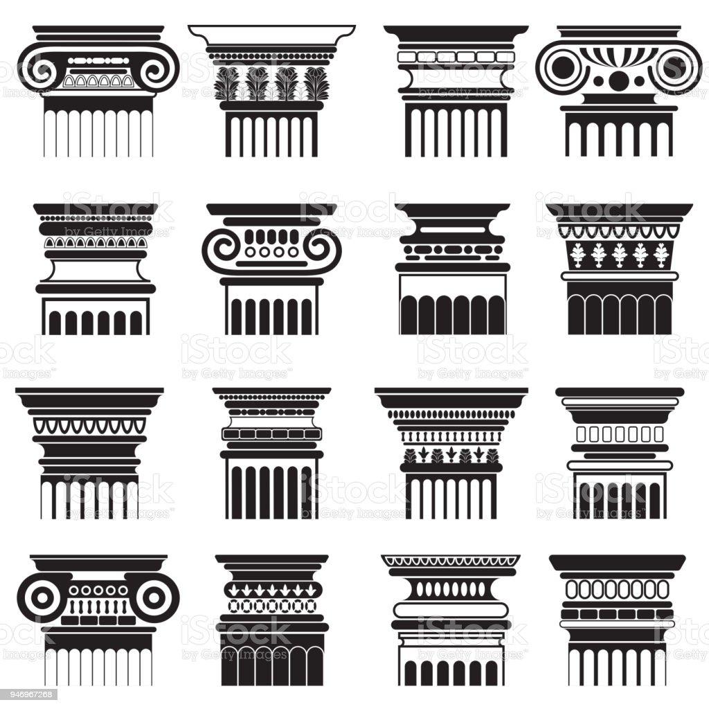 Vector ancient greek roma column capitals silhouette set.