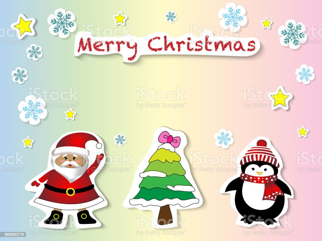 Vector And Illustration Of Cute Hand Drawing Sticker Style Santa Claus Christmas Tree Penguin