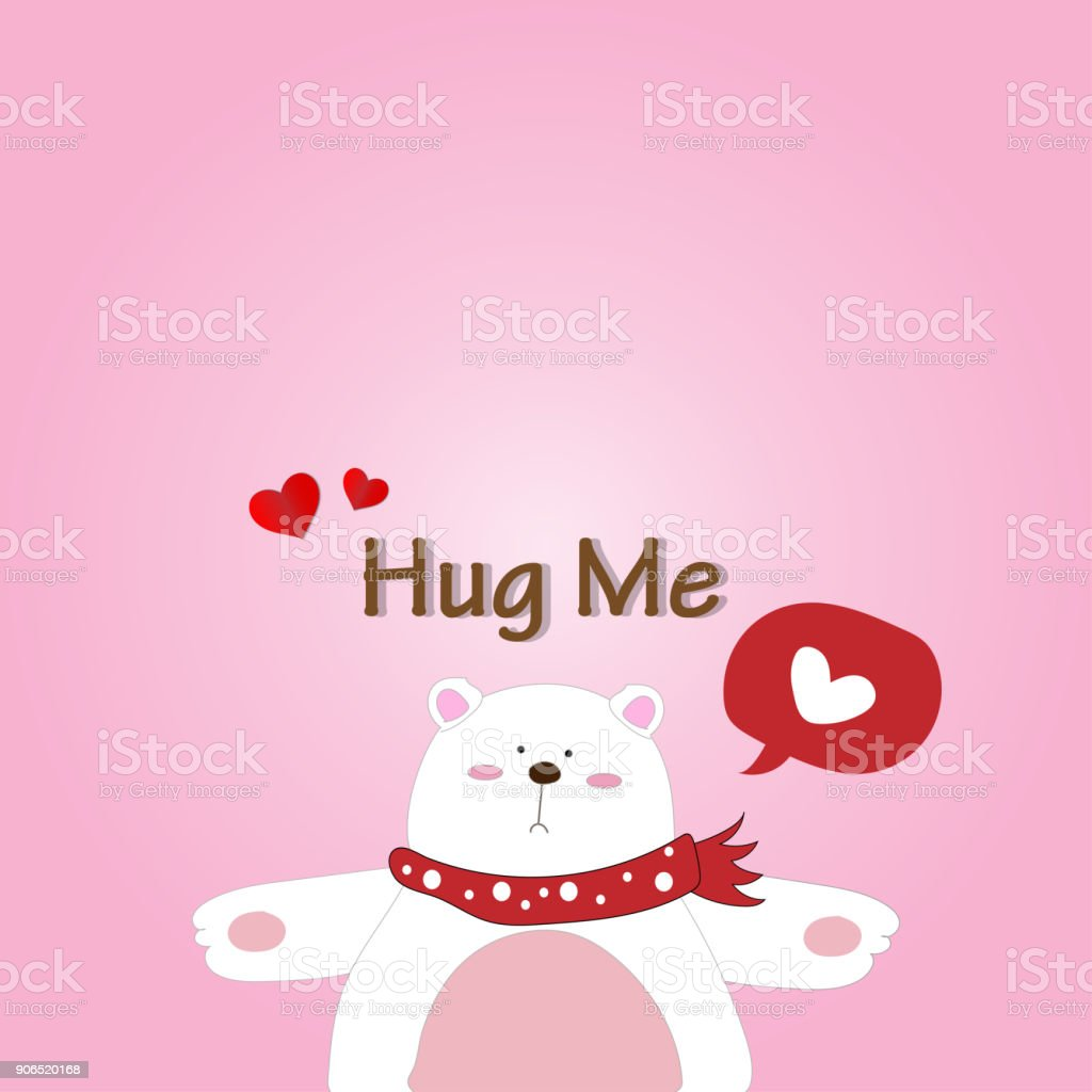 Vector And Illustration Of Cute Polar Bear Giving A Hug And Saying Hug Me  For Valentineu0027s