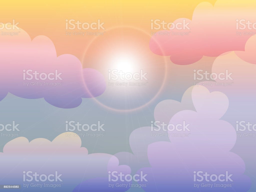 vector and illustration of pastel shading color sky in sunset or