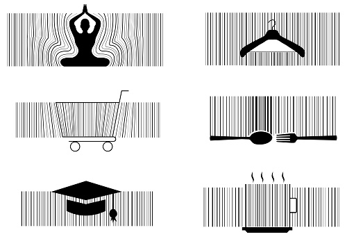 Vector and illustration yoga,food,restaurant,education barcode design idea concept.