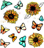Collection of abstract freehand watercolour butterflies in teal blue and rusty beige, with vibrant pen and ink sunflowers, scalable vector drawings. Set of design elements for a card or an invitation