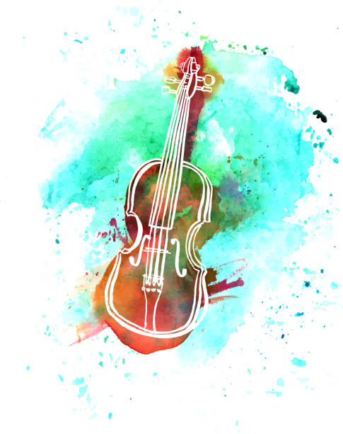 vector and watercolor grunge violin drawing with copyspace - skrzypce stock illustrations