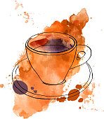 A vector and watercolour drawing of a cup of coffee with a texture and copy space