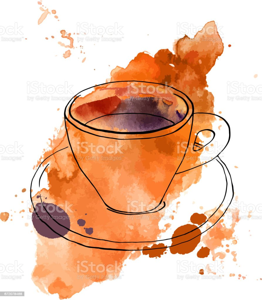 Vector and watercolour drawing of coffee with texture vector art illustration