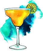 Vector and watercolour Margarita cocktail with turquoise stain