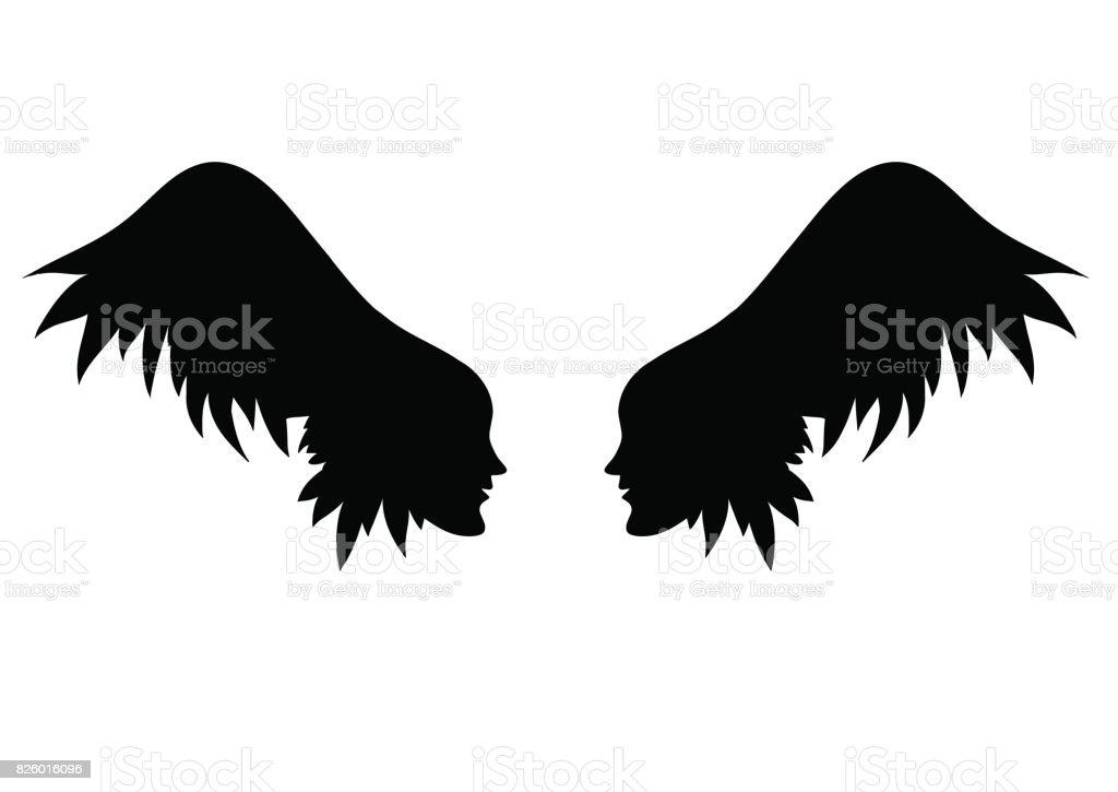 vecteur des ailes d'ange. deux profils d'individus avec aile - cheveux - Illustration vectorielle